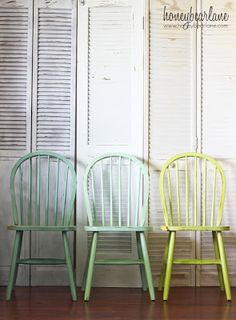 Would be cool to do with kitchen table chairs.. maybe just one color.. distressed