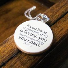 Literary Book Lover Reading Necklace with Cicero Garden Library Quote | TheWanderingReader - Jewelry on ArtFire