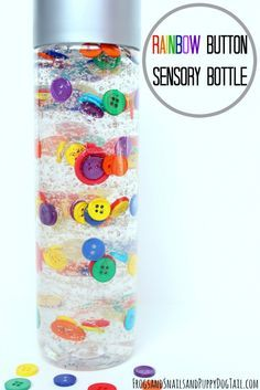 DIY rainbow button sensory bottle using hair gel to create an i soy or bright sensory bottle Infant Activities, Preschool Activities, Sensory Bottles Preschool, Rainbow Sensory Bottles, Sensory Bottles For Toddlers, Baby Sensory Bottles, Sensory Glitter Bottles, Calming Activities, Plastic Bottles