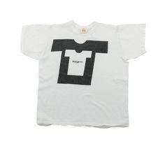 70's RUSSELL SOCIETY 染み込みTシャツ 表記(M) 白×黒