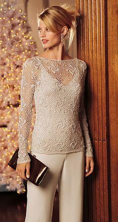 Crochet evening long sleeve blouse  ♥LCT♥ with diagram Ivelise Feito à Mão: Blusa Linda Em Crochê