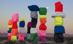 Internationally renowned Swiss artist Ugo Rondinone's Seven Magic Mountains is a large-scale site-specific public art installation located near Jean Dry La