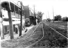 Fort Smith, Arkansas - Courtesy of the Fort Smith Public Library Looking south on First Street ca. the man standing left is in front of the T. Fort Smith Arkansas, Little Rock, Ol Days, Old West, South Wales, Railroad Tracks, Missouri, Vintage Photos, Waterfall