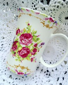 A personal favorite from my Etsy shop https://www.etsy.com/listing/280575946/beautiful-roses-mug-shabby-chic-roses