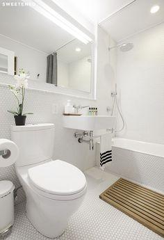 matte white penny tile Before and After: Ellen's Kensington Bathroom Renovation - Sweetened!