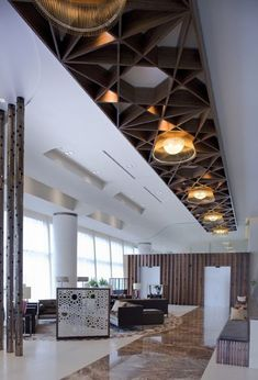 Wondrous Useful Tips: False Ceiling Wedding Fabrics false ceiling design cafe.False Ceiling Living Room Built Ins false ceiling design small. Lounge Design, Design Hotel, Lobby Design, False Ceiling Design, False Ceiling Ideas, Architecture Restaurant, Interior Architecture, Commercial Design, Commercial Interiors