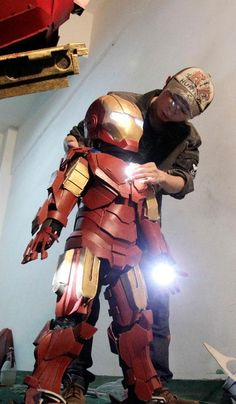 A homemade Iron Man suit.