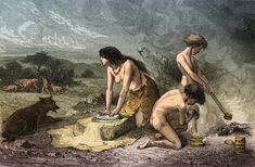 Science Source - Prehistoric Man, Stone Age Hand-Grinding Ancient Art, Ancient History, Prehistoric World, Early Humans, Primitive Survival, Human Evolution, Iron Age, European History, Prehistory