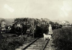 A stationary train thrown down by the San Francisco earthquake at Point Reyes Station, west Marin County, California, April 18, 1906