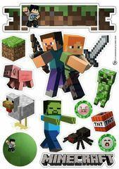 – Oh My Fiesta! for Geeks - Mine Minecraft World Minecraft Cake Toppers, Bolo Minecraft, Mine Minecraft, Mine Craft Party, Oh My Fiesta, Mini Craft, Free Printables, Birthdays, Alice