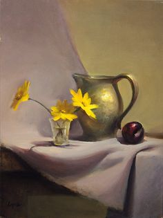 "Yellow and Plum 12"" x 9"" Oil on Panel Available at The Howell Gallery"