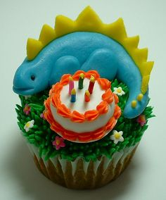 Birthday Stegosaurus Cupcake for the birthday boy only! Maybe just one real candle on the cake!