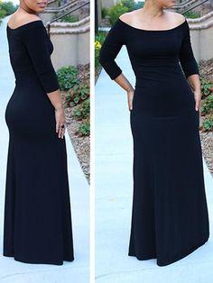 Off Shoulder High Waist Three Quarter Sleeve Maxi Dress - XL / Black Cute Maxi Dress, Long Shirt Dress, Maxi Dress With Sleeves, Dress Skirt, Short Sleeve Dresses, Maxi Dresses, All Fashion, Work Fashion, Fashion Outfits