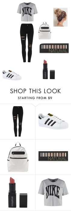 """""""School outfit"""" by angelis1 on Polyvore featuring adidas, Forever 21, Smashbox and NIKE"""