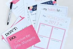 Our New Year's resolution kit; includes free printables to document your goals for 2014! Download at www.sparkandchemistry.com