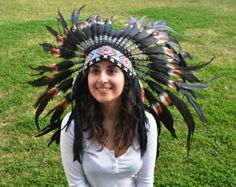 S36- Short double Feather Brown Headdress by theworldoffeathers. Explore more products on http://theworldoffeathers.etsy.com