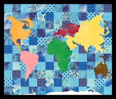 World map quilt quilts maps pinterest world quilt and world map quilt montessori continent quilt or wallhanging gumiabroncs Gallery