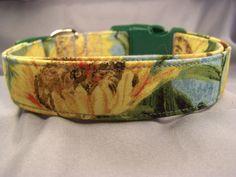 Van Gogh Sunflowers Dog Collar by RescueMeCollars on Etsy https://www.etsy.com/listing/113890655/van-gogh-sunflowers-dog-collar