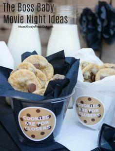 Boss Baby - Movie Night - Snacks The Baby Boss Movie, Baby Movie, Boss Baby, Movie Night Snacks, Movie Night Party, Family Movie Night, Movie Nights, Baby Cookies, Baby Birthday