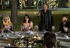 Rossi gives a toast at JJ & Will's wedding; from S7E24, Run. Pictured are, Garcia, Prentiss, Rossi, Hotch and Will.