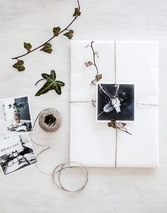 gift wrap with photograph topper//