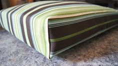 Easy Outdoor Cushion Covers (Part diy cushion covers. i just finished these with ikea fabric and they were easy, but don't look it. i just finished these with ikea fabric and they were easy, but don't look it. Diy Cushion Covers, Outdoor Cushion Covers, Box Cushion, Outdoor Cushions, Recover Patio Cushions, Seat Cushions, Cushion Ideas, Outdoor Pillow, Cushion Fabric