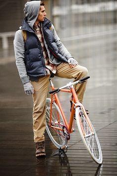 puffer vest / hoodie / plaid / chinos / bike