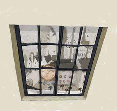 Niña mirando por la ventana. Albert Pinilla