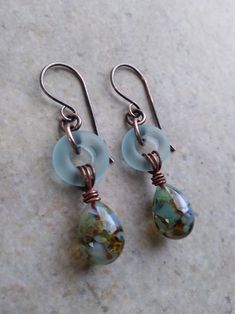 Sand & Sea ... Petite Artisan-Made Lampwork Ring, Lampwork Headpin and Copper Wire-Wrapped Boho, Beachy, Ocean, Sea, Everyday Earrings by juliethelen on Etsy https://www.etsy.com/listing/602045031/sand-sea-petite-artisan-made-lampwork