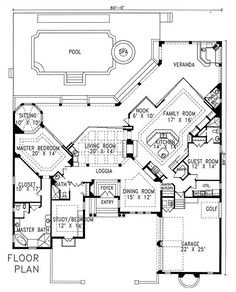 Plan #1-1201. Spanish style home with a living S.F. of 3240 (4950 S.F. Total), 3 full baths and 1 half baths. 1 story home, 80' wide, and 89' deep.
