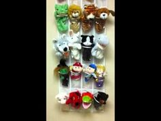Display puppets in your play therapy room using a shoe holder