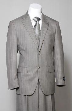 Steve Harvey 3 Piece Light Grey Pinstripe Men's Suit - I like him in grey too Dress Suits, Men Dress, Men's Suits, Blue Suits, Groom Suits, Groom Attire, Gentleman Mode, Gentleman Style, Sharp Dressed Man