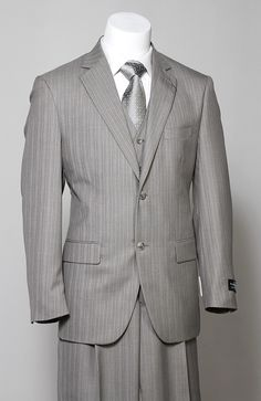 Mens Vintage 2 Piece Grey Pinstripe Suit Size 42 by ViVifyVintage