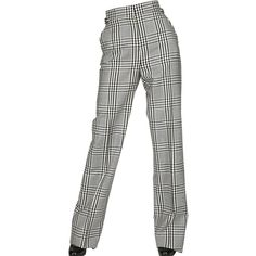 Tom Ford Women Large Check Cool Wool Wide Trousers ($830) ❤ liked on Polyvore featuring pants, zipper trousers, white wide pants, wide-leg pants, zipper pants and white pants