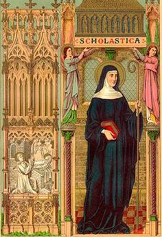 St. Scholastica pray for us and nuns, convulsive children and against storms and rain.  Feast day February 10.