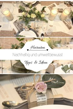 My tips for a sustainable table decoration for the wedding - Hochzeit - Eco Bride - tischdekoration hochzeit Green Wedding, Diy Wedding, Wedding Table, Wedding Ideas, Confused Images, Track Pictures, Tree Seedlings, Burlap Bags, Entrance Ways