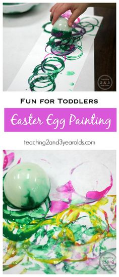Easter Egg Art for Toddlers - Put those plastic eggs to good use with this fun process art activity! Teaching 2 and 3 Year Olds