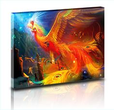 Huge Pictures Thousands of Beautiful birds worship Phoenix Beautiful Illustration Oil Paintings Prints on Canvas Home Wall Deccor Pictures for Living Room (30'x47.5', WOOD FRAMED) >>> Learn more by visiting the image link. (This is an affiliate link) #UsefulHomeDecor