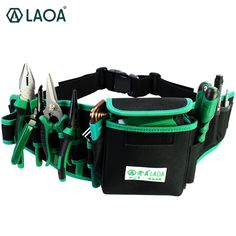 LAOA Waterproof Electrician Bag Double Layers Tool Bags Storage tools kit Waist Bag Pocket for Professional Electricians Tool Storage, Bag Storage, Electrician Tool Bag, Tool Belt Pouch, Scuba Diving Equipment, Oxford Fabric, Tool Kit, Tools, Military