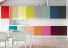 Kitchen, Awesome Rainbow Kitchen Sweet Design With White Wood Chair And Cabinets: Best Kitchen Design 2013 Kitchen Cabinet Colors, Kitchen Colors, Kitchen Ideas, Kitchen Designs, Ikea Kitchen, Kitchen Dining, Kitchen Paint, Bar Kitchen, Studio Kitchen