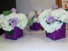 Centerpieces purple and white