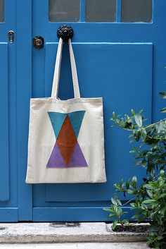 totebag leather and triangles by Amelie N, via Flickr