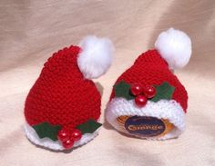2 x Terrys Chocolate Orange Christmas Santa Hat Covers hand knitted Christmas Knitting Patterns, Knitting Ideas, Knitting Patterns Free, Knit Patterns, Free Knitting, Christmas Ideas, Christmas Crafts, Christmas Decorations, Christmas Ornaments