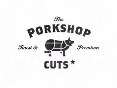 This #logo #design for a Porkshop uses its negative space for a meat cleaver - designed by Luis Lopez Grueiro, Spain