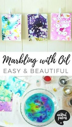 Marbling with oil and food coloring is one of the easiest ways to marble paper and it uses materials you likely already have at home. Beautiful!
