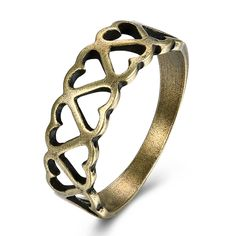 >> Click to Buy << JEXXI Women Girls Elegant Heart Ring Fashion Hollow Bronze Wide Band Punk Style for Party Engagement Retro Jewelry Accessories #Affiliate