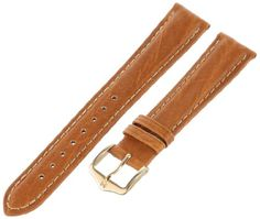 "Hirsch 010091-10-16 16 -mm Genuine Textured Leather ""No Allergy"" Lining Watch Strap. Camel grain genuine textured leather with a no allergy lining for sensitive skin customers. Remborde construction; m length=110.5x69.5mm; 16mm wide at lug end & 14mm wide at buckle end. Lightly padded with contrast white stitching. No allergy skin-friendly high-tech lining leather. Nickel-free no-allergy buckle in yellow color."