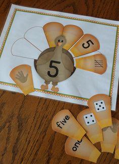 Thanksgiving activities for preschool and kindergarten - turkey number sorting mats