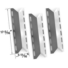 REPLACEMENT 3 PACK STAINLESS STEEL HEAT PLATE FOR PERMASTEEL, CHARMGLOW, HOME DEPOT, NEXGRILL, PERFECT FLAME, PERFECT GLO GAS GRILL MODELS Fits Compatible Permasteel Models : PG-50400S