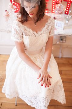 Alencon Lace Wedding Dress With Sleeves and by thepeppermintpretty